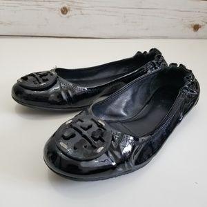 Tory Burch | Reva Black Patent Ballet Flats